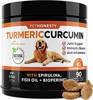 PetHonesty Turmeric Curcumin for Dogs - Arthritis Hip & Joint Supplement Soft Chews with Turmeric, BioPerine, Fish Oil & C...