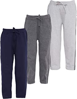 AmericanElm Pack of 3 Boy's Cotton Track Pants, Stylish Lowers for Kids