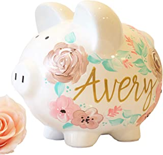 Custom Ceramic Piggy Bank for Girls, Large Bank with Pink Flowers and Hand Painted, Perfect New Baby Gift or Baby Shower Gift for New Baby Girl