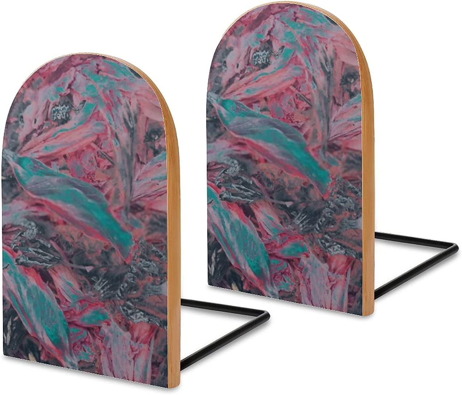 New products, world's highest quality popular! Wood Bookends Max 48% OFF Pack of 2 Pink Forest for Book Stand Non Home Skid