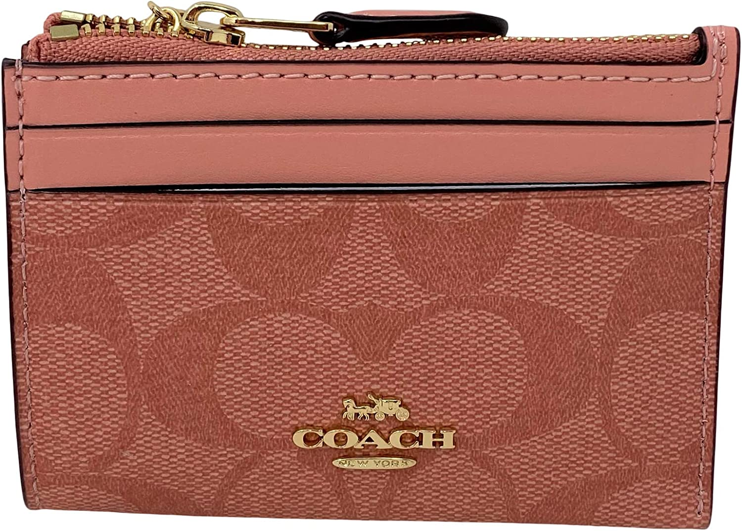 Coach Mini Skinny Card ID 人気ブレゼント! Case with Ring Key Candy Keychain セール特価 Pink