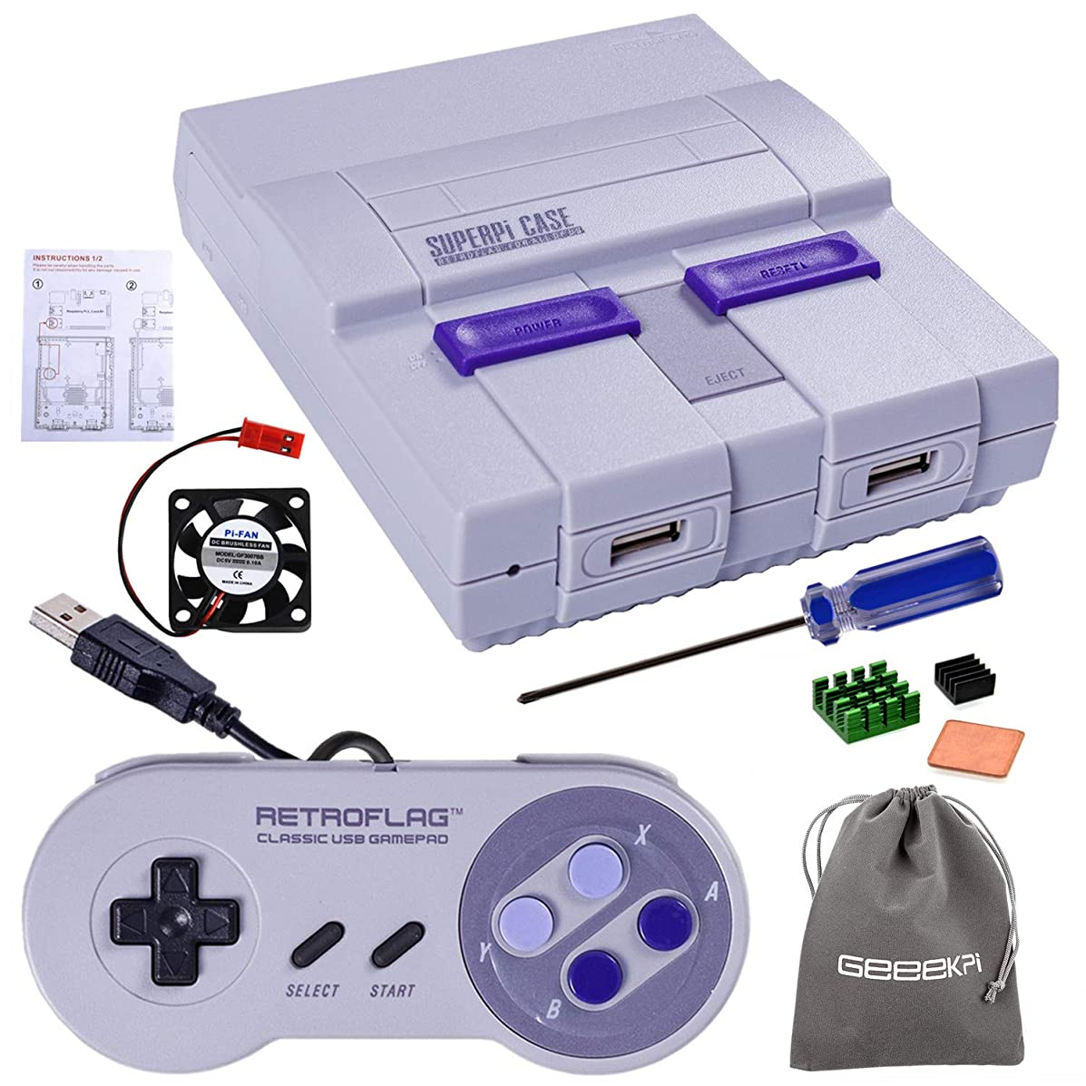 Retroflag SUPERPI CASE UCase NESPI CASE SNES Case with Functional Power Button and Reset Button with Raspberry Pi Heatsink Fan Flannel Bag for RetroPie Raspberry Pi 3 B+ & Raspberry Pi 3/2 Model B/B+