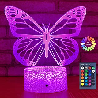 Butterfly Night Light, Birthday Gift for Girls 3D Illusion Lamp Kids Bedside Lamp with 16 Colors Changing Remote Control Butterfly Toys Girls Gifts