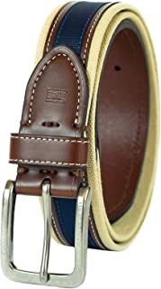 Men's Ribbon Inlay Belt - Fabric Belt with Single Prong Buckle