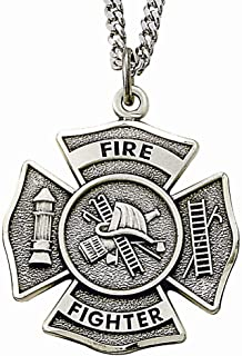 Sterling Silver Fire Fighter Shield Medal with Saint Florian Back, 1 Inch