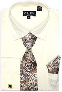 Men's Solid Square Pattern Regular Fit Dress Shirts with Tie/Hanky Cufflinks Combo