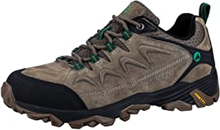 HUMTTO Mens Non-Slip Breathable Outdoor Low-Top Leather Lightweight Trekking Hiking Shoes
