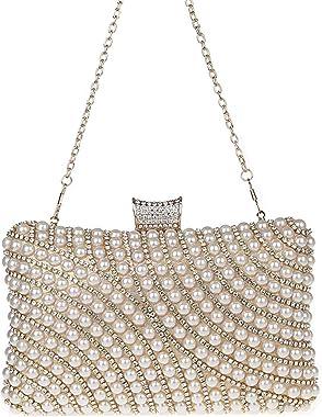 KAXIDY Imitation Perle Strass Designer Damentasche Tasche Clutch Handtasche Abendtasche Brauttasche
