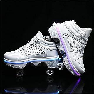 HANHJ Justerbara fyra rullskridskor, promenadskor, rullskor, skridskoskor, 2-i-1 multifunktionella skor, promenaddeformeri...