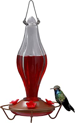 CHILIPET Hummingbird Feeder Durable Metal & Bottle Antique Glass Attract More Hummers to Your House & Outdoor Garden Features 4 Red Flower Feeding Ports It Has 13 Ounces Capacity