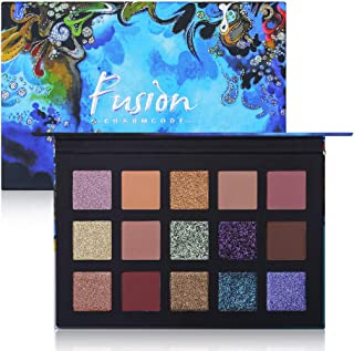 Charmcode 15 Colors High Pigmented Eyeshadow Palette Shimmer Matte Glitter Duo Chrome Metallic Shades Pressed Pearls Eye Shadow Makeup Set (Charmcode Palette)