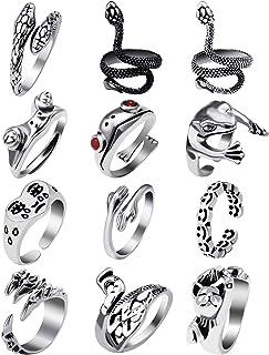 12 قطعة مجموعة خاتم الضفدع للنساء الرجال، خواتم ثعبان خمر لطيف الحيوان خواتم مفتوحة حزمة