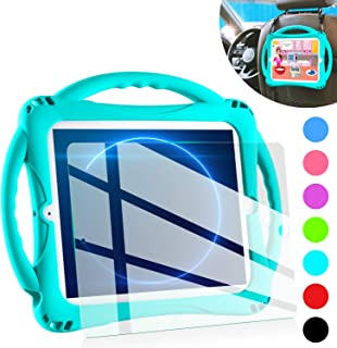 iPad 2 Case for Kids,TopEsct Shockproof Silicone Handle Stand Case Cover&(Tempered Glass Screen Protector) for Apple iPad 2,iPad 3,iPad 4 (Turquoise)