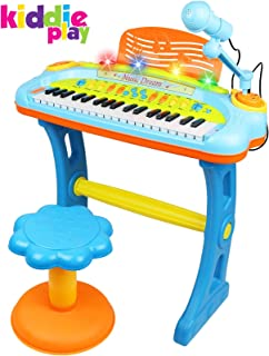 Kiddie Play Electronic 37-Key Toy Piano Keyboard for Kids with Real Working Microphone, Colorful Lights and Stool (with USB Adapter)