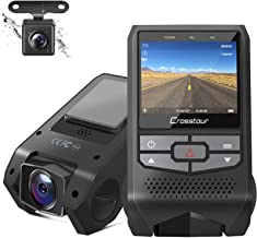 Crosstour Front and Rear Dash Cam FHD 1080P Mini Dual in Car DVR Dashboard Recorder with G-Sensor, HDR, Loop Recording, Mo...