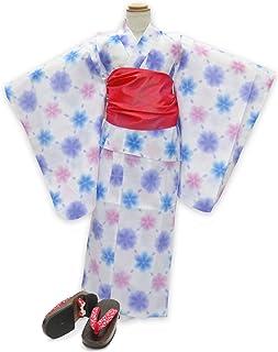 浴衣 こども 女の子 セット 式部浪漫ブランドの女の子浴衣 兵児帯 下駄 3点セット 110「白地 雪 ブルー」SRY11-B17-Rset