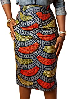 Women's High Waist Vintage Printed Midi Pencil Skirt