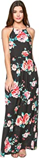 Everly Womens Floral Halter Neck Sleeveless Woven Maxi Dress