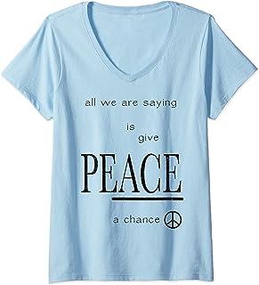 Femme John Lennon - Peace T-Shirt avec Col en V