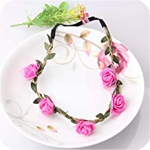 Rose Fabric Flower Crown Princess Cerchietti Capelli Bride Wreath Wedding Garland Hair Accessories Mesh Elastic Headbands,Rose red,Size fits All