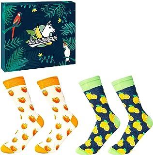 Llamabanana® 2 pares de calcetines para hombre de alta calidad de lujo coloridos algodón rico con caja de regalo