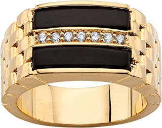 Palm Beach Jewelry Men's 14K Yellow Gold Plated Baguette Natural Black Onyx and Round Cubic Zirconia Ring