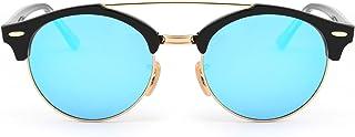 JIM HALO - Gafas de Sol Polarizadas Espejo Clubround Redondas Semi Sin Marco Anteojos Hombre Mujer