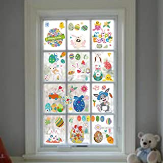 DegGod Easter Decorations Window Clings Sticker, 9 Sheets Removable PVC Wall Decals with Egg Bunny and Chick Carrot for Ho...