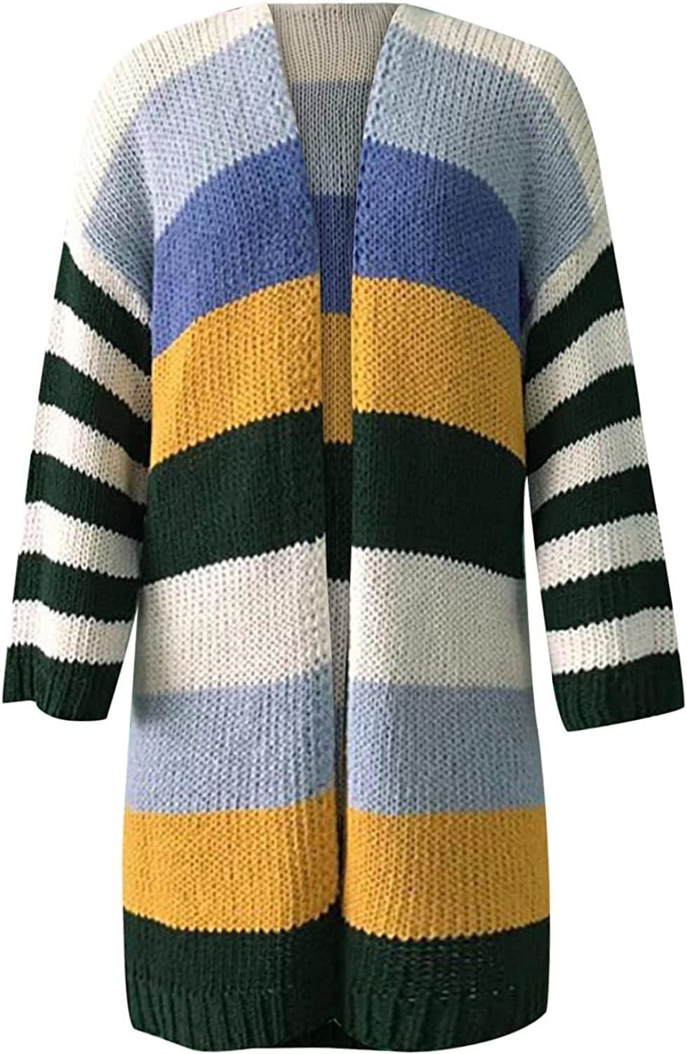 CofeeMO Womens Fall Warm Patchwork All-Match Sweater Long Sleeve Coat Casual Tops Loose Splicing Mid-Length