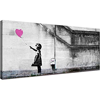 """BANKSY CANVAS WALL ART PICTURE GIRL WITH BALLOON ORANGE GREY 4 PANEL 44/""""x 27/"""""""