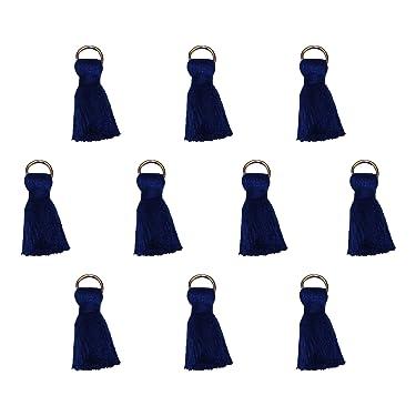 Seeking ROAM Tassels with Jump Ring, Around 1 Inch, Cotton, 10 Pieces, Navy (Navy Blue)