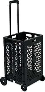 Mount-It! Mesh Rolling Utility Cart, Folding and Collapsible Hand Crate on Wheels, 55 Lbs Capacity
