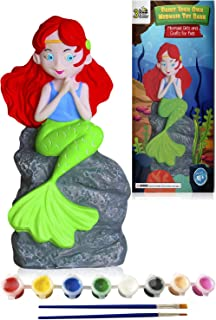 3 Bees & Me Kids Arts and Crafts for Girls & Boys - Mermaid Paint Your Own Toy & Coin Bank DIY Kit