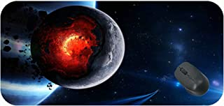 Gaming Mouse Pad Customized Extended,Space Cataclysm Planet Art Explosion Asteroids Comets Fragments Mouse Pad With Stitch...
