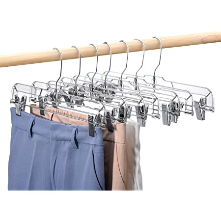 """Lot of Used 10  Clear Plastic 14/"""" Pants Hangers with Clips"""