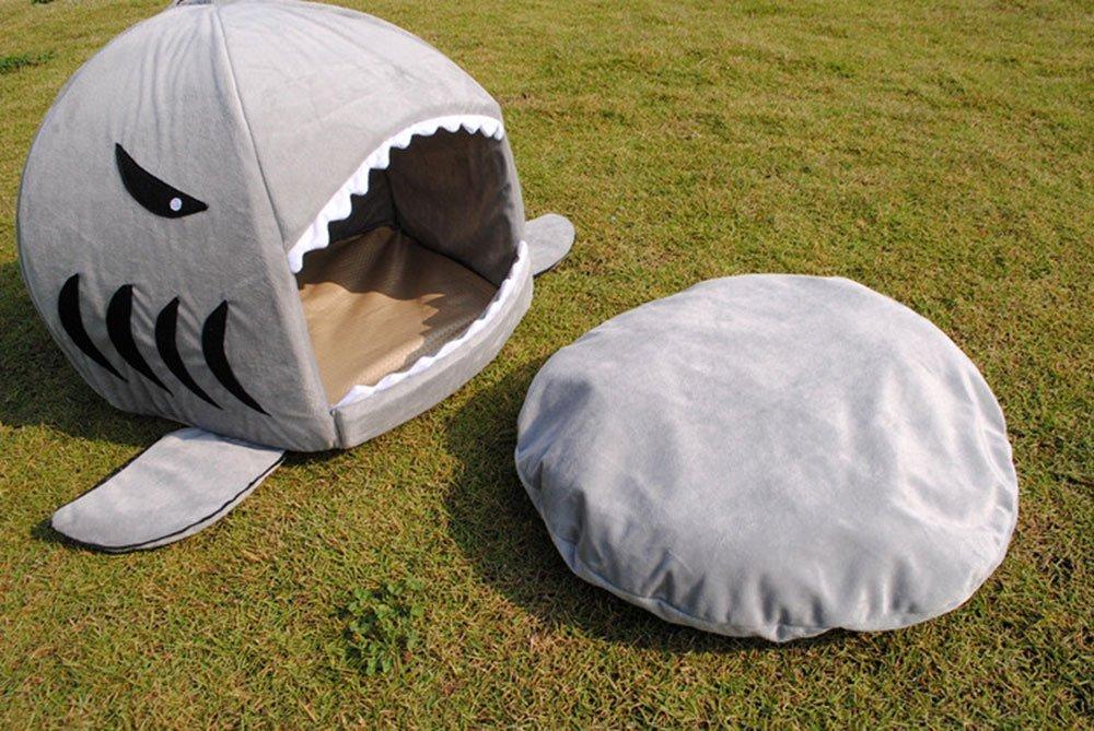 L-Peach Casa Redonda de Tiburones Cama para Mascotas con Colchoneta Casa Linda Cueva de Animal Doméstico para Gatito Cachorro Conejos Hamsters Removible Cojín Parte Base Impermeable: Amazon.es: Productos para mascotas