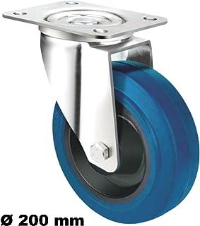 Transportwiel wielen 200mm zwenkwiel rem bock wielen elastische banden Blue Wheel blauwe wielen blauw (wiel 200 mm)