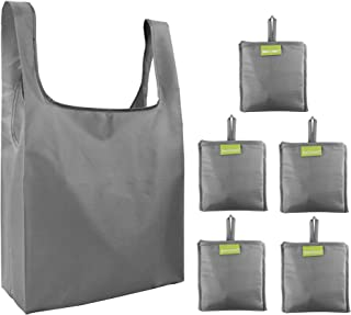 Folding-Reusable-Grocery-Bags-Shopping-bag with Pocket Ripstop 50LBS 5 Pack Folded Groceries Compact Bags for Shopper Gifts Travel Machine Washable Bulk Gray