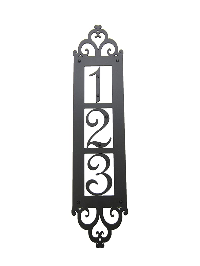 Classic Spanish Style Vertical Iron Address Plaque 3 Number APVS13