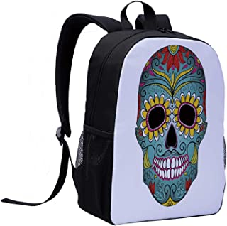 Sugar Skull Decor Children's Backpack,Folk Art Elements Featured Skull Day of the Dead Celebration Concept Decorative for Travel,12″L x 5″W x 17″H