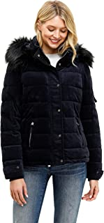 Women's Hooded Puffer Coat Short Quilted Jacket Full Zip Warm Winter Thickened Coat, Regular & Petite Size