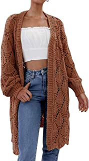 Angashion Women's Winter Chunky Cable Knit Hollow Out Long Cardigan Sweater Outwear Coat