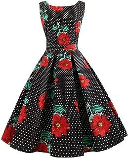 Behkiuoda Women Floral Print Dress Summer Sleeveless Dress Evening Party Dress for Valentine's Day