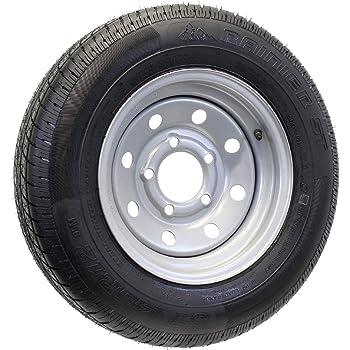 Amazon Com 2 Pk Trailer Tire Rim St145 R12 145 R12 Radial Load E 5 Lug Silver Modular Wheel Automotive