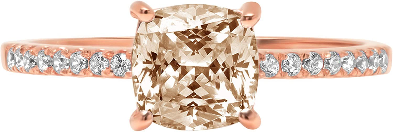 1.63ct Brilliant Cushion online shop Cut Solitaire New products, world's highest quality popular! with Accent Brown Champag