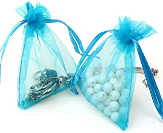 ECVILLA Kipoo 100pcs 4 x 6 Organza Bags, Gift Bags Organza Drawstring Pouch Jewelry Party Wedding Favor Party Festival Gift Bags Candy Bags (Blue)