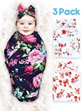 3 Pack Baby Swaddle Blanket Newborn Baby Wrap Organic Swaddle Receiving Blankets with Headband for Baby Boys Girls Unisex