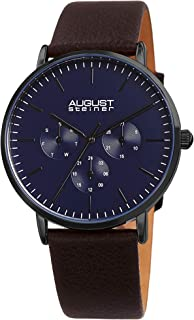 August Steiner Men's Quartz Watch, Analog Display And Leather Strap As8256Bkbr