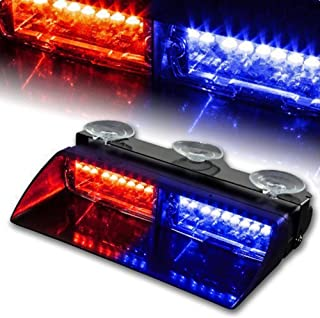 WoneNice 16 LED High Intensity LED Law Enforcement Emergency Hazard Warning Strobe Lights 18 Modes for Interior Roof/Dash/Windshield with Suction Cups (Red/Blue)