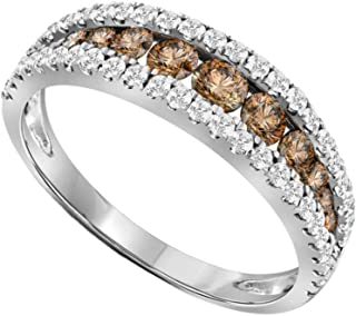 Brandy Diamond Chocolate Brown 14K White Gold Lovely Eternity Band Ring 1 Ctw.